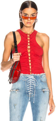 Unravel Stretch Lace Up Racer Bodysuit in Red | FWRD