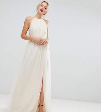 Little Mistress Tall sequin high neck maxi dress in cream