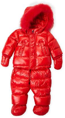 ADD Newborn/Infant Girls) Real Fur Trim Hooded Down Coat & Snow Bib Set