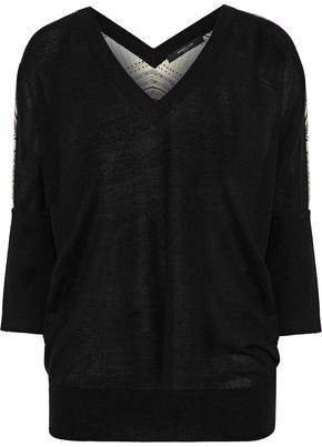 Derek Lam Printed Silk-Paneled Cashmere Sweater
