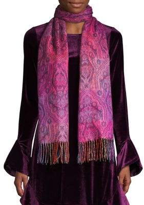 Lord & Taylor Fringed Paisley Scarf