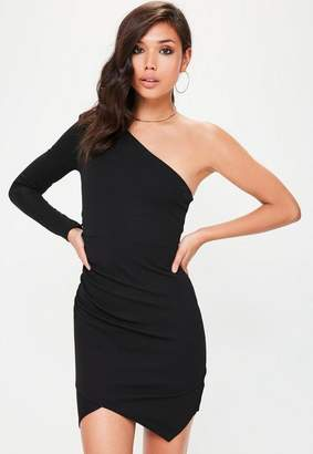 Missguided Black One Shoulder Bodycon Dress