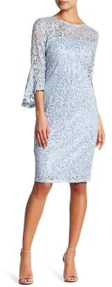 Marina Sequin Lace Bell Sleeve Short Dress $149 thestylecure.com