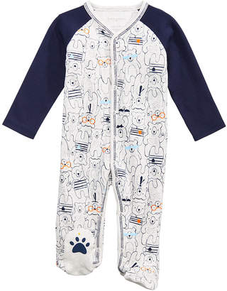 First Impressions Baby Boys Bear-Print Cotton Footed Coverall, Created for Macy's