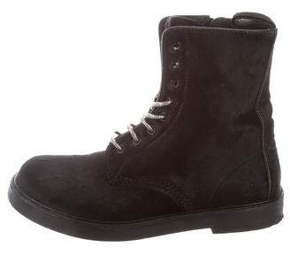 Calvin Klein Collection Ponyhair Lace-Up Boots