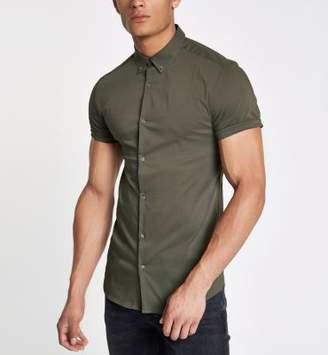 River Island Green poplin muscle fit short sleeve shirt