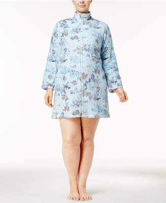 Miss Elaine Plus Size Fleece Floral-Print Short Robe