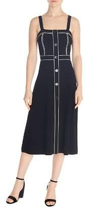 Sandro Edith Piped Button-Down Midi Dress
