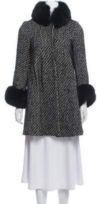 Alice + Olivia Wool-Blend Fox Fur-Trimmed Coat