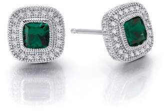 Lafonn Platinum Plated Sterling Silver Bezel Set Created Green Emerald & Simulated Diamond Pave Halo Cushion Stud Earrings
