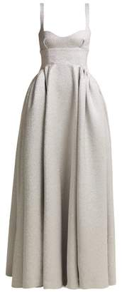Emilia Wickstead Diamond Bedini Sweetheart Neckline Cloque Gown - Womens - Silver