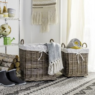 Safavieh Amari Rattan Square Hamper Baskets with Wheels, Two-in-One
