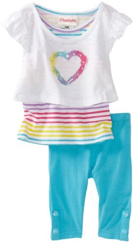 Flapdoodles Baby-Girls Infant Colorful Heart 2fer Tunic And Capri Set
