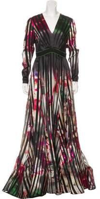 Elie Saab Striped Evening Gown