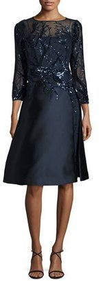 Rickie Freeman for Teri Jon Sequined-Bodice Fit-&-Flare Cocktail Dress $800 thestylecure.com