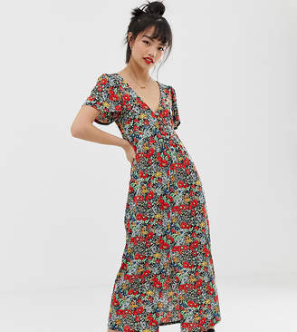 Asos DESIGN Petite jersey crepe maxi tea dress with self covered buttons