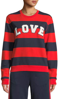 Tory Sport Love Striped Yarn-Dyed Graphic Sweatshirt