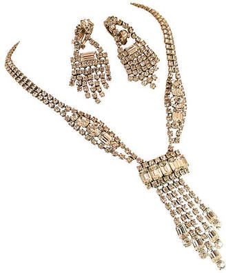 One Kings Lane Vintage Kramer Waterfall Crystal Necklace Suite