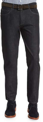 Ermenegildo Zegna Cotton-Silk Five-Pocket Denim Jeans, Black