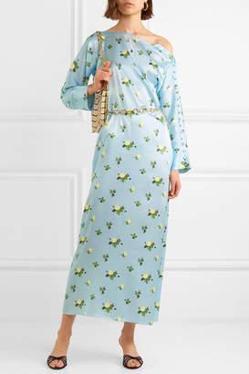 Dakota BERNADETTE Floral-print Stretch-silk Satin Maxi Dress - Blue