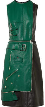 Alexander McQueen Zip-detailed Two-tone Leather Dress - Green