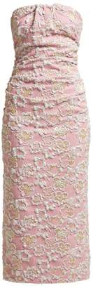 Miu Miu Strapless Cloque Midi Dress - Womens - Pink Multi