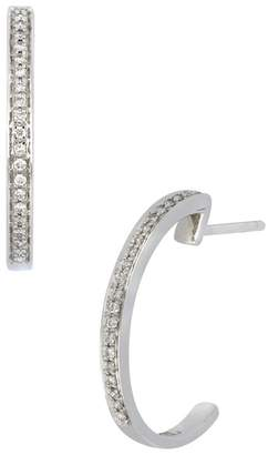 Bony Levy 18K White Gold Pave Diamond 'C' Shape 18mm Hoop Earrings - 0.10 ctw