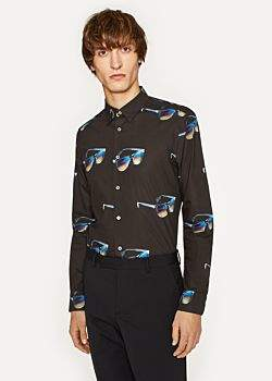 Paul Smith Men's Slim-Fit Black 'Sunglasses' Print Cotton Shirt With Striped Cuff Lining