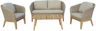 One Kings Lane Teak & Wicker 4-Pc Lounge Set - Beige