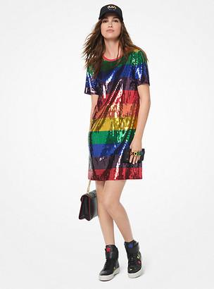 Michael Kors Rainbow Sequined Cotton-Jersey T-Shirt Dress