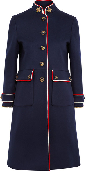 Gucci - Embellished Metallic-trimmed Wool-felt Coat - Navy