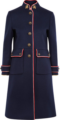 Embellished Metallic-trimmed Wool-felt Coat - Navy