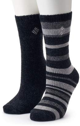Columbia Women's 2-Pack Chenille Striped Crew Socks