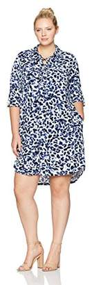 Jones New York Women's Plus Size 3/4 Roll SLV Print Lace up Shirtdress