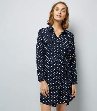 Yumi Navy Polka Dot Shirt Dress