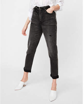 Express high waisted black distressed girlfriend jeans