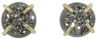 Melissa Joy Manning 6mm Silver Mist Druzy Stud Earrings - Yellow Gold