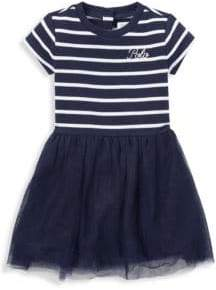 Ralph Lauren Girl's French Terry Stripe Tulle T-Shirt Dress