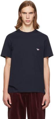 MAISON KITSUNÉ Navy Tricolor Fox Patch Pocket T-Shirt
