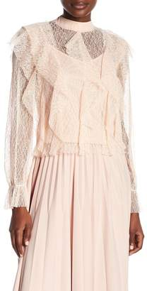 Gracia Sheer Lace High Neck Blouse