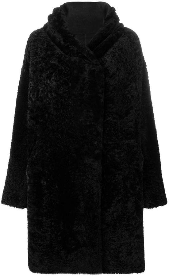 oversized hooded shearling coat