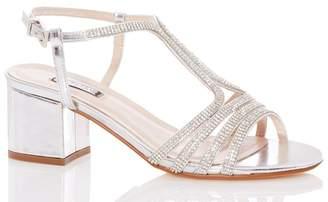 Quiz Womens Diamante Strappy Block Heel Sandal - Silver