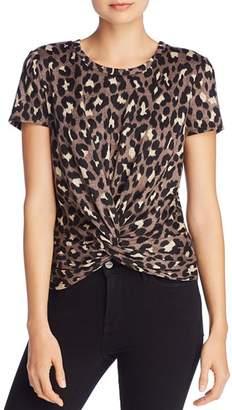 Aqua Leopard Twist-Front Short Sleeve Top - 100% Exclusive
