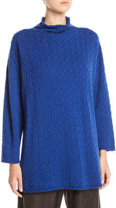 eskandar Funnel-Neck Long Cashmere Knit Sweater