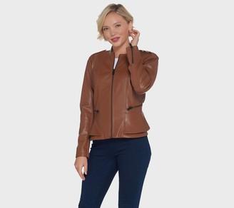 G.I.L.I. Got It Love It G.I.L.I. Faux Leather Double Peplum Jacket