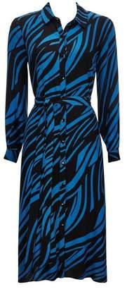 Wallis PETITE Blue Zebra Print Shirt Dress