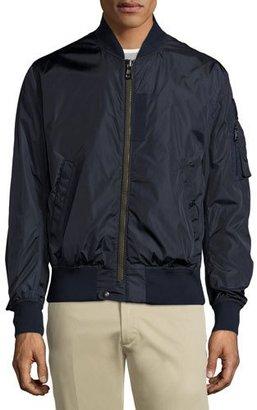 Moncler Timothe Zip-Up Nylon Bomber Jacket, Navy $810 thestylecure.com