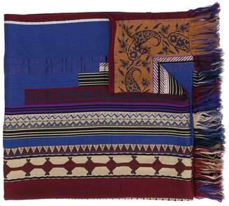 Etro embroidered fringed scarf