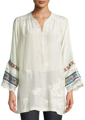 Johnny Was Fayan Patchwork-Sleeve Georgette Tunic, Plus Size