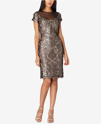Tahari ASL Sequin Lace Illusion Dress